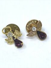 Tone Lapel Pin Set of 2 Angel with Purple and Clear Rhinestones Gold