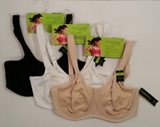 Studio Sport Bra Bras 34C Lot 3 Black White Beige Medium Impact Ambrielle Active