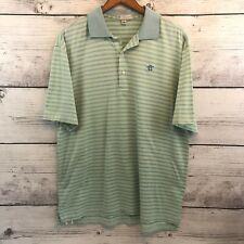 Peter Millar Striped Polo Shirt Mens Medium Blue Green Short Sleeve Embroidered