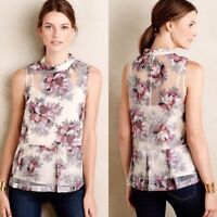 Anthropologie Peony Blossoms Floral Sleeveless Fitted Top Sze 10 Holidays Summer