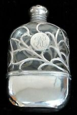 ALVIN STERLING SILVER OVERLAY ON CRYSTAL 3/4 PINT FLASK
