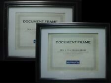 "Set of 2 11""x14"" Document Frames Matted to 8.5""x11"" - Black w/ Gold Trim"