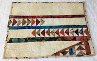 Patchwork Quilt Table Topper Or Wall Quilt, Southwest Design, Triangles