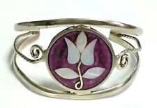 VINTAGE MEXICO ALPACA SILVER INLAY MOTHER OF PEARL FLOWER DESIGN CUFF BRACELET