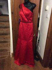 BNWT Red Satin One Shoulder Evening Dress Train Mermaid UK 10