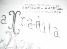 PUGLIA_BARI_ANTICO SPARTITO_ROMANZA_PIANOFORTE_AMARICUSI_MANCINI_SIMEONI_RARITA'