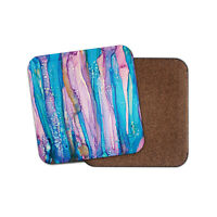 Stained Glass Art Coaster - Modern Pretty Student Fun Blue Pink Fun Gift #16013