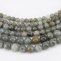 "Lots 15"" Natural Labradorite Gemstone Loose Spacer Beads Findings Craft 4-10MM"