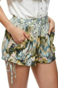Free People Womens Lisbon Soft OB578304 Shorts Slim Sand Combo Green Size XS
