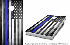 "Police Thin Blue Line Cornhole Bag Toss Wrap Skins Decal Games 24""x48"" FREE SHIP"