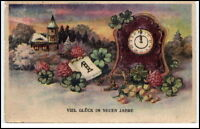Gruss NEUJAHR ~1920/30 Glück Neues Jahr 1. Januar Kalenderblatt Uhr color Motiv