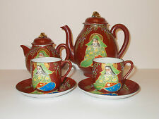Genuine Handpainted China Mikado 2 Teapots 2 Espresso Cups & Saucers - Lovely
