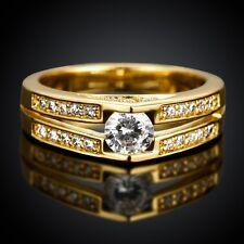 Elegant 18K Gold GP Lady's Swarovski Crystal Wedding Engagement Band Ring Size 8