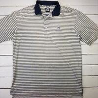 Footjoy FJ Golf Polo Shirt Mens Large White Stripe Performance Short Sleeve P326