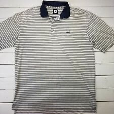 Footjoy Golf Polo Mens Size Large White Striped Performance Short Sleeve P326