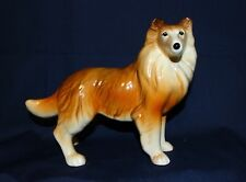 "Vintage 5.25""T x 7""L Melba Ware Collie Sheltie Brown Figurine England Pottery"