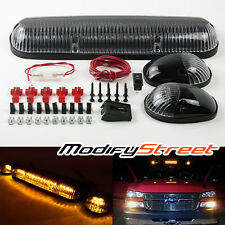 3PC AMBER LED CLEAR CAB ROOF TOP MAKER RUNNING LIGHTS LAMPS FOR SUV/TRUCK/JEEP