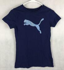 Puma Womens Juniors shirt XS athletic active crew basic 100% Cotton blue navy