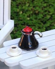 Miniature Dollhouse FAIRY GARDEN Accessories ~ TINY Coffee Pot with 2 Cups