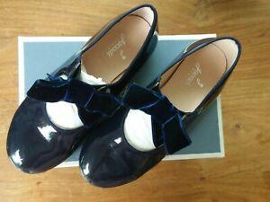Mädchen Halbschuhe Lack blau mit Samtschleife Größe 31 Jacadi Paris