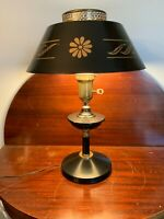 Vintage Black & Gold Tole Metal Lamp with Torchiere Glass Shade stenciled shade