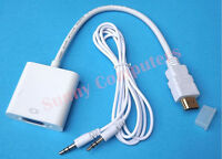 HDMI Male to VGA Female Converter Video Audio A/V Adapter 1080P HD + AUX Cable