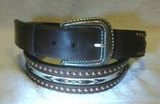 """Nocona Brown Leather Belt Silver Engraved Buckle Studded Weave Size 38"""" 1.5W"""