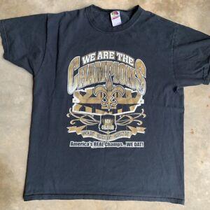 Vintage New Orleans Saints NFL Super Bowl T-Shirt Black Unisex Reprint TK4815