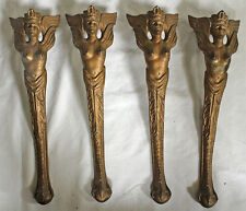Vintage/Antique ART DECO 4 Table LEGS/BASES-Gold Tone Metal- Nude Female Figures