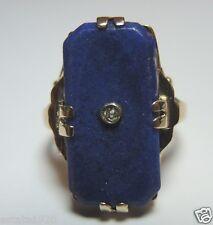 Antique Vintage Art Deco Lapis Lazuli Esemco 14K Yellow Gold Ring Size 6 UK-L1/2