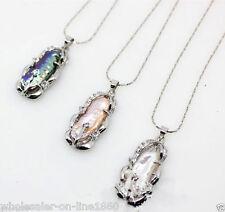Lot 3PCS White Pink Black Natural Biwa Pearl Pendant Necklace