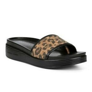 NEW Donald J. Pliner Fiji Leather Leopard Slide Sandal Women's 9.5 MSRP $170