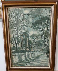 Original John Haymson Watercolor Painting Bruton Parish Church Williamsburg VA
