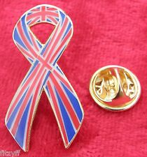 Union Jack Awareness Flag Ribbon Lapel Pin Badge Brooch Great Britain GB UK