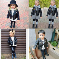 Autumn Winter Toddler Infant Kids Baby Outwear Leather Short Jacket Coat P