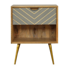 Scandinavian Cement Grey With Gold Bedside Table Solid Wood
