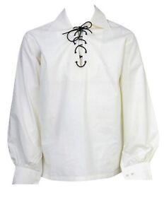 Scottish White Jacobite Ghillie Kilt Shirt with Leather Cord Sizes S - - 5XL
