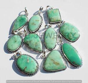100 Pcs Lot Natural Chrysoprase Gemstone 925 Silver Plated Pendants MF-259