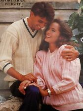 Ladies & Mens Ribbed Vintage Knitting Pattern Aran Weight V Neck Jumper PC4217