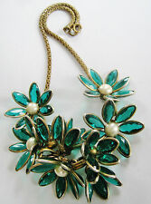 VINTAGE BLUE-GREEN STUNNER: 'POURED GLASS' FLORAL NECKLACE GLASS FANTASY ROMANCE