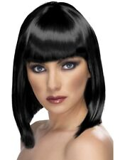 Black Glam Wig Short, Blunt with Fringe Adult Womens Smiffys Fancy Dress Costume