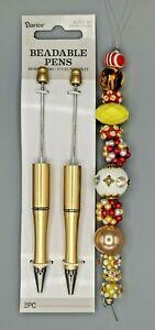 3 pc Beaded Pen Kit, 2 Gold Plastic pens, 1 Strand Large Hole Beads, B-A486