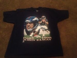Vintage John Elway Retirement Shirt Adult XL QB 1983 1998 Denver Broncos