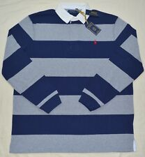 Large L Polo Ralph Lauren Mens Iconic Rugby Shirt Classic Fit Gray Navy