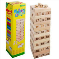 Wooden jenga, Classic games, giftsc for children, With numbers or colours