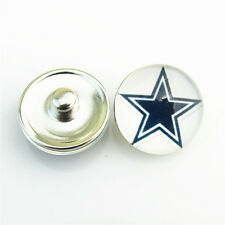 12pcs NFL Team Dallas Cowboys 18mm Glass Snap Buttons Sports For Snap Bracelet