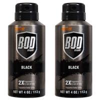 Pack of (2) New Bod Man Really Black 4 oz Deodorant Spray
