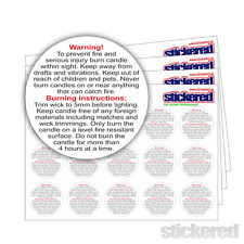 60 x 37mm WHITE GLOSS VINYL CANDLE SAFETY WARNING LABELS STICKERS WATERPROOF