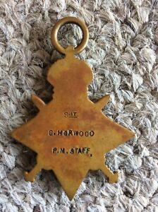 Ww1 1914/15 star to  sjt G Horwood P.M staff