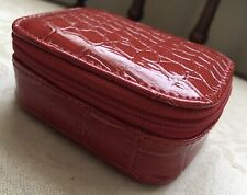 Mini Daily Pill Organiser in Small Red Faux-Croc Effect Zipped Case